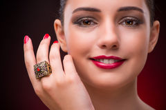 The woman with nice ring in beauty concept Stock Photos