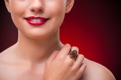 The woman with nice ring in beauty concept Stock Photo