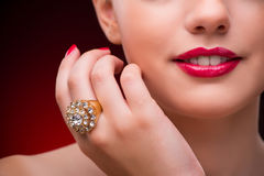 The woman with nice ring in beauty concept Royalty Free Stock Images