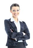 Woman nice smiles. Beautiful business woman nice smiles. isolated on a white background Royalty Free Stock Photography