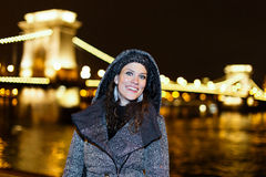 Woman at night in Budapest, Europe Stock Images