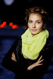 Woman and night city ligthts Royalty Free Stock Image