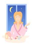 Woman with night cream Stock Image
