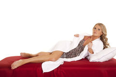 Woman nightgown white robe full body Stock Images