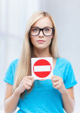 Woman with no entry sign. Picture of woman with no entry sign Royalty Free Stock Images
