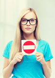 Woman with no entry sign. Picture of woman with no entry sign Royalty Free Stock Photos