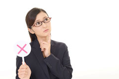 Woman with a No sign. Business woman with a No sign Stock Photo