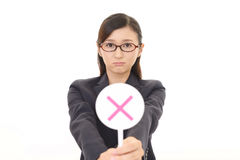 Woman with a No sign. Business woman with a No sign Stock Image