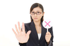 Woman with a No sign. Business woman with a No sign Royalty Free Stock Photo