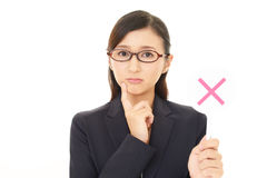 Woman with a No sign. Businesswoman with a No sign Royalty Free Stock Photography