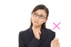 Woman with a No sign. Businesswoman with a No sign Stock Photos