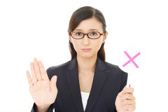 Woman with a No sign. Businesswoman with a No sign Royalty Free Stock Image