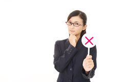 Woman with a No sign. Businesswoman with a No sign Stock Photography