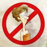 Woman no smoking cartoon. No smoking cartoon with a woman smoking a cigarette inside a divided circle vector illustration