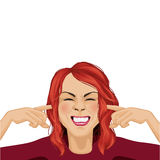 Woman and noise. Vector cartoon Stock Images