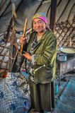 Woman in nomad tent in Kyrgyzstan Stock Photos