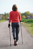 Woman on nordic walking Stock Images