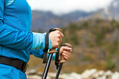 Woman nordic walking hands Royalty Free Stock Photography