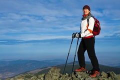 Woman on Nordic Walking in mountains Royalty Free Stock Image