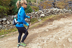 Woman nordic walking on trail Royalty Free Stock Photography