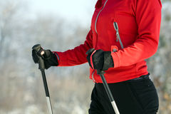 Woman nordic walking in winter Stock Images
