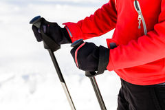 Woman nordic walking in winter Royalty Free Stock Photos