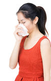 Woman with nose allergy Stock Photo