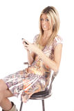 Woman not happy text Stock Images