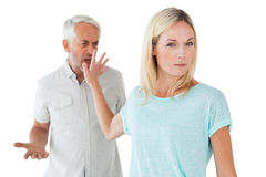 Woman not listening to her angry partner Royalty Free Stock Image