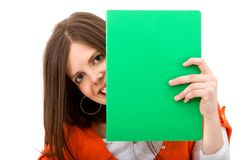 Woman with a notebook Royalty Free Stock Images