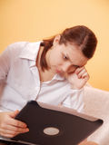 Woman with notebook. Young women working with notebook Royalty Free Stock Images