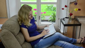 Woman notebook stock video footage