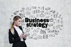 Woman with a notebook and business strategy Stock Photography