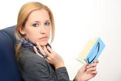 Woman with notebook. close up Royalty Free Stock Images