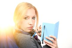 Woman with notebook. close up Stock Photos