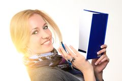 Woman with notebook. close up Stock Image