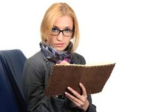 Woman with notebook. close up Stock Images
