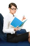 Woman with notebook. close up Royalty Free Stock Photo