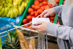 Woman with notebook in grocery store choosing vegetables, holding shopping list. Woman with notebook in grocery store choosing vegetables, holding shopping list Royalty Free Stock Image