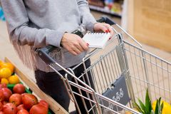 Woman with notebook in grocery store, closeup. Shopping list on paper. Woman with notebook in grocery store, closeup. Shopping list on paper Stock Photo