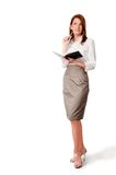 Woman with notebook and pen. Is thinking about tex of notes Stock Photos