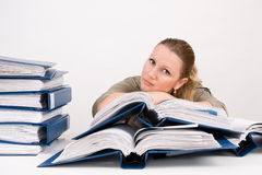 Woman with notebooks Royalty Free Stock Photo