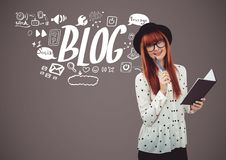 Woman with notepad and blog graphic icon drawings Stock Photos