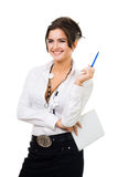 Woman with notepad and pen Stock Images