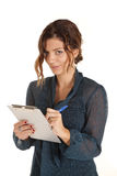 Woman notepad smirk Royalty Free Stock Image