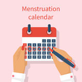 Woman notes in the calendar menstrual cycle. Menstruation calendar in hand female. Monthly period. Write calendar. Vector illustration flat design. Isolated on stock illustration