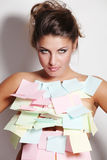 Woman and notes paper Stock Image