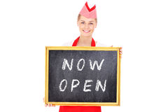 Woman with a now open board Royalty Free Stock Photo