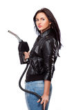 Woman with nozzle. Beautiful sexual woman portrait with nozzle stock photo