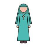 Woman nun icon. Woman nun with religious cross icon over white background. vector illustration Royalty Free Stock Photos